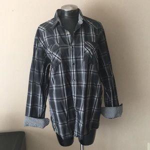 Other - Men's Long sleeve button down black white plaid